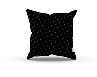 Art Series: Jean-Michel Basquiat's Cross Pillowcase w/Stuffing - Black pillow / Home decor / Abstract, mid century, retro pillows