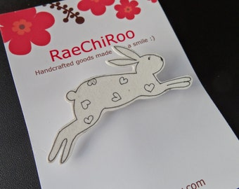 Leaping Bunny Brooch Pin