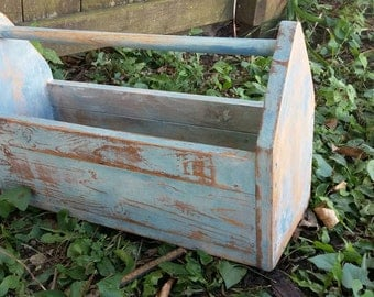 Reclaimed Wood Pallet Wood Tool Box Garden Tote Old Wooden Box
