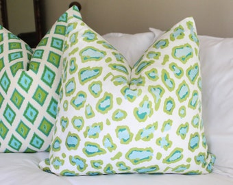 Green & teal leopard print pillow cover, green pillow cover, chinoiserie, cheetah print pillow cover