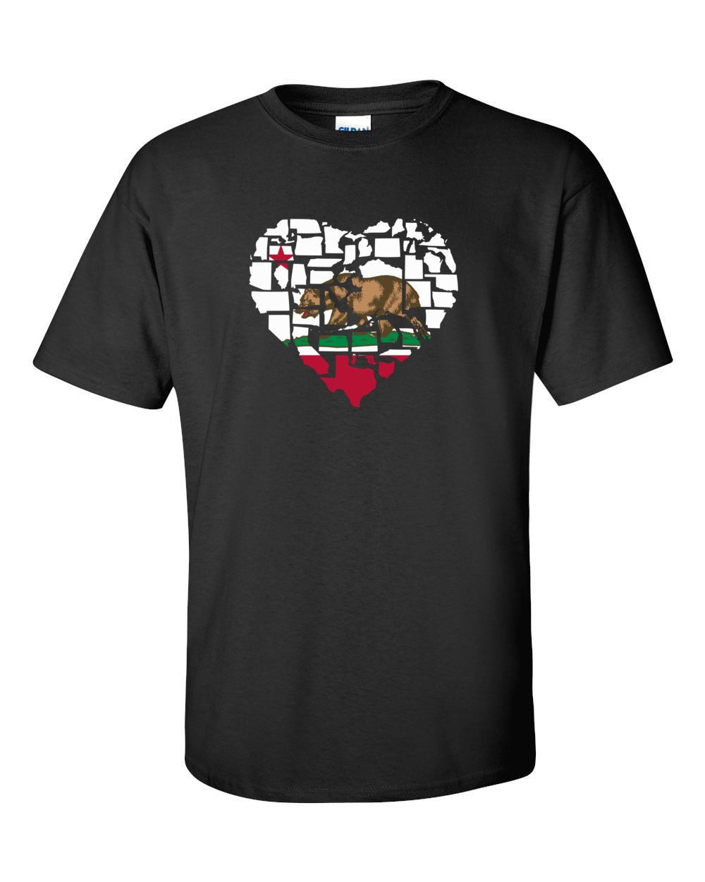 California T-shirt - No Matter Where I Am, California Is Alway In My Heart - My State California T-shirt