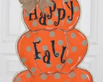 Pumpkin burlap door hanger