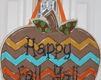 Chevron Pumpkin door hanger