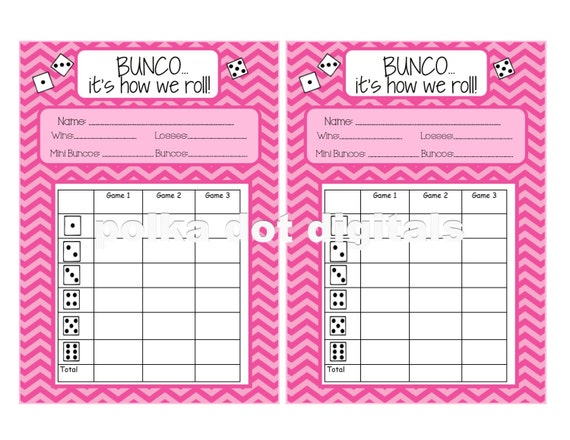 Buy  Get  Free Complete Set Pink Chevron Bunco Score Card