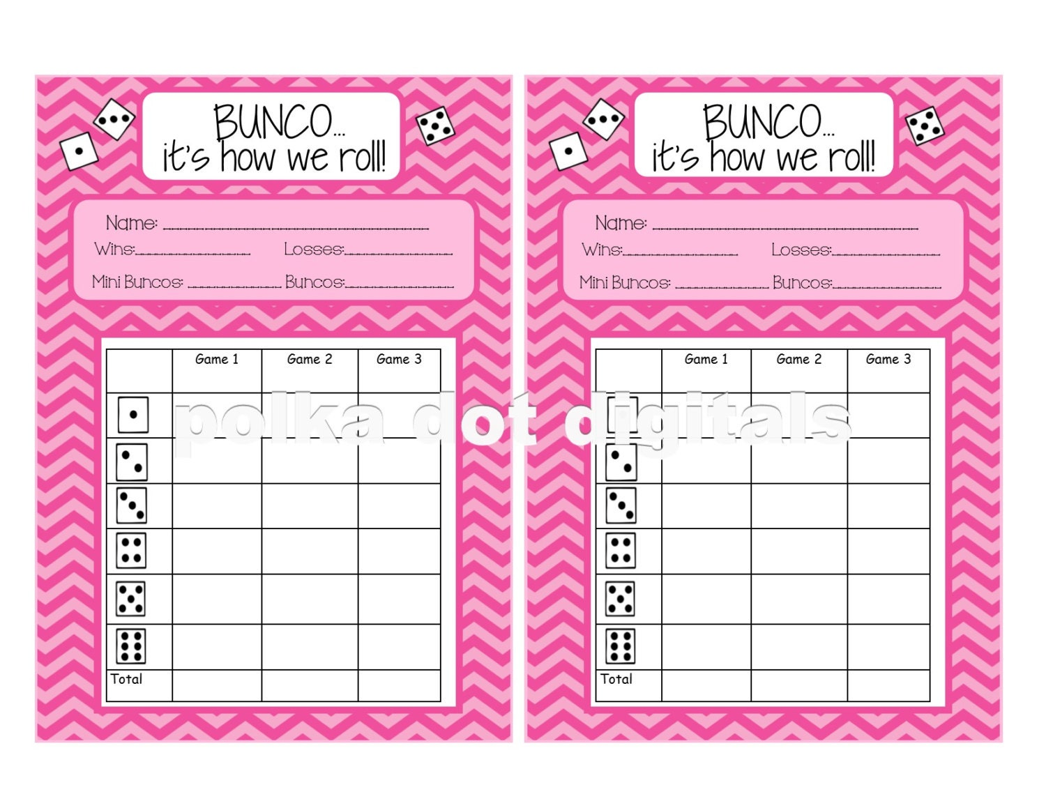 free bunco scorecard template - buy 2 get 1 free complete set pink chevron bunco score card