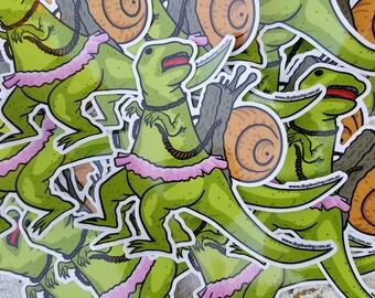 Snail Dino Rider Sticker