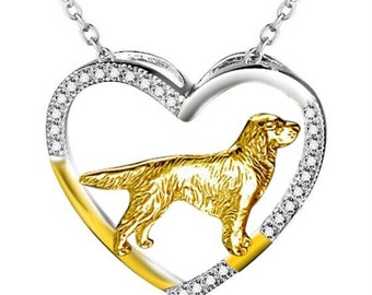 Sterling Silver Open Heart Golden Retriever Necklace