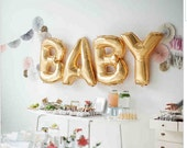 """FREE SHIPPING 40"""" Gold Foil Letter & Number Balloons, Nursery, Baby Shower, Love, Baby, Baby Room"""