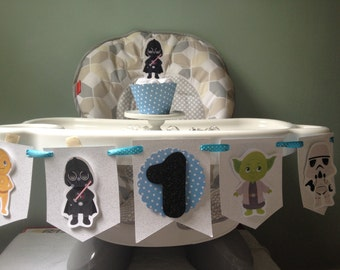 Star Wars 1st or 2nd Birthday Party Highchair Banner