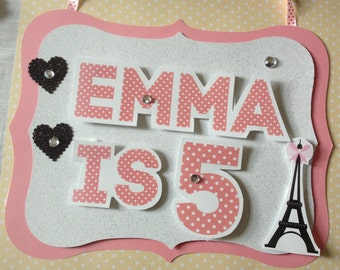 Paris France Personalized Party Sign