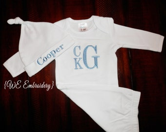 MONOGRAMMED Baby Boy GOWN & Hat Gift Set - Personalized Baby Gift - Shower Gift
