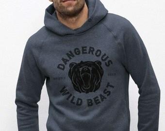 Hoodie Sweatshirt organic cotton grey blue printed visual in fiber