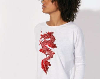 T-shirt trend relaxed fit, drooping shoulder Organic Cotton  White Slub