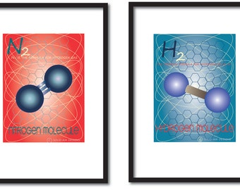 Science inspired wall art, Nitrogen, hydrogen molecule print, educational print, adults, boys science bedroom print, girls science print.