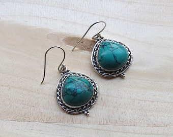 Oxidized Turquoise Sterling Silver Dangle Earrings, Gemstone Jewelry, Bridesmaid Gifts, Wedding Gifts