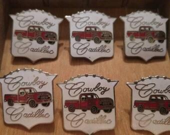 Vintage Pickup Truck Cowboy Cadillac Enamel Pin
