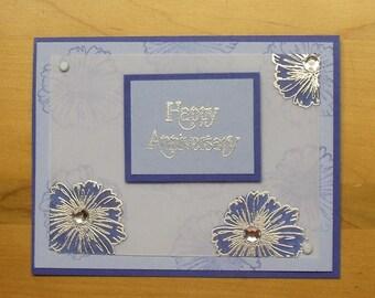 Anniversary (Embossed Flowers) Card