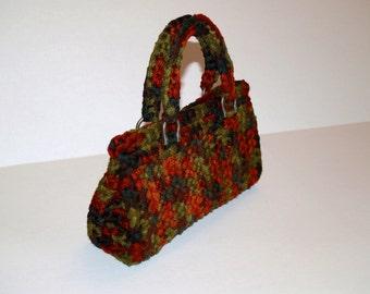 Handmade Crochet Handbag - Autumn Colour Purse