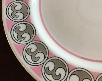 Vintage Mikasa Plates - Mediterrania Dessert Plates - Set of Six - Pink, Gray, and White