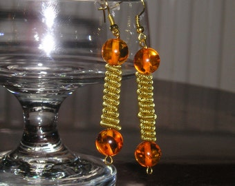 Coiled Wire & Quartz Earrings