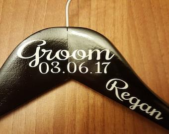 Personalised Men's Wooden Wedding Suit Hangers Black, custom wedding hangers with name, Photo props, wedding coat hangers