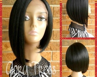 ON SALE// Short Asymmetrical Bob Lace Front Wigs, 100% Human Hair Blend,  Free Parting Lace Front // PROMISE (Free Shipping)