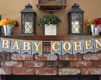 Baby Shower Banner, Personalized Baby Shower Banner, Name Banner, Rustic Baby Shower Banner, Baby Name Banner