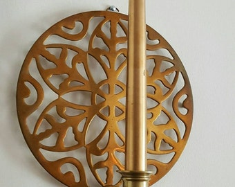 Brass wall sconce candle holder