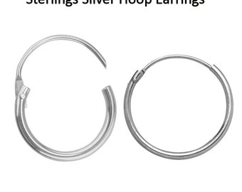 Solid 925 Sterling Silver 11mm Earrings Polished Creole Hoop Sleeper New Free Shipping in UK