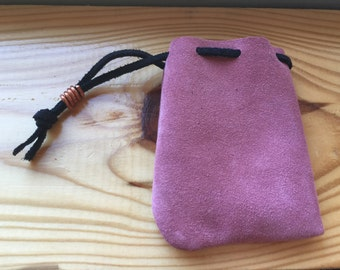 Handmade Pink suede leather pouch