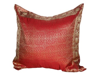 "Red pillow cover 24""x24"", Sari Pillow Cover, Decorative Throw Pillows, daybed pillow"