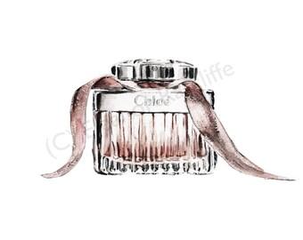 Signed original watercolour print - Chloe EDT perfume bottle
