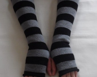 Knitted long fingerless gloves, handmade arm warmers, striped armwarmers, stylish hand warmers, black and grey striped wrist warmers