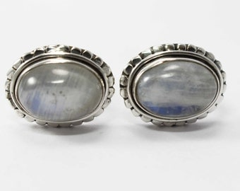 Rainbow Moonstone Cufflinks 925 Sterling Silver White Handmade Jewellery by AmoreIndia C307