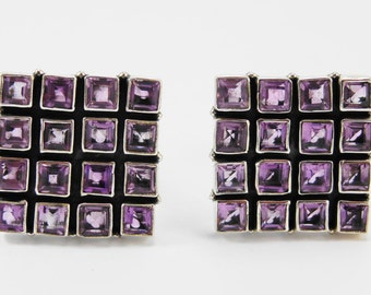 Beautiful Amethyst Square Sterling Silver 925 Handmade Cufflinks Mens Jewellery Purple by AmoreJewels
