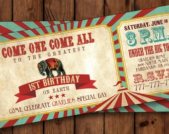 Circus Invitation/Circus Birthday Invitation/Carnival Invitation/Carnival Birthday invitation/Vintage Circus Invitation/Ticket Style/#001