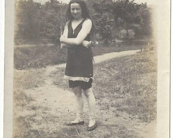 Long-haired Girl in 1920s Bathing Suit, 1925, Vintage Photograph