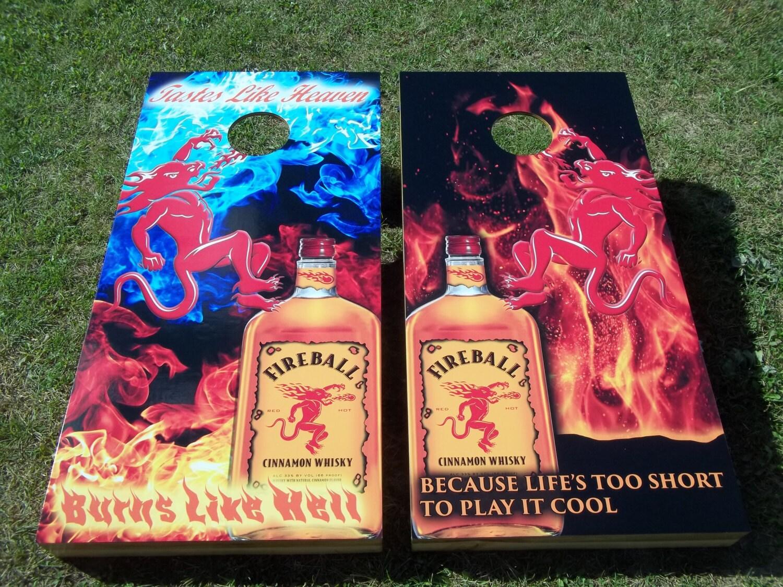 Fireball Whisky Corn Hole Boards Bean Bag Toss Game
