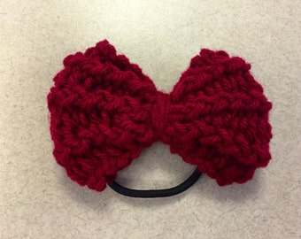 Burgundy Knit Bow Hair Tie/Headband