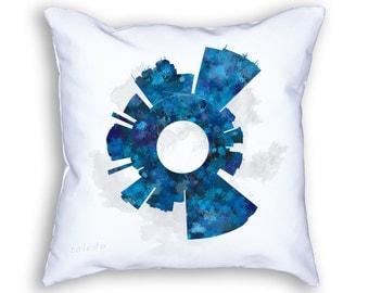 Toledo Ohio Small World Skyline Designer Throw Pillow, Toledo Decor, Toledo Skyline, Toledo Art, Toledo Cushion