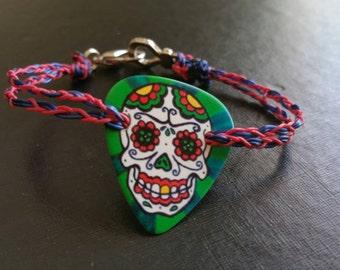 Guitar Pick Bracelet, Sugarskull, Custom Made, Guitar Wear jelewry