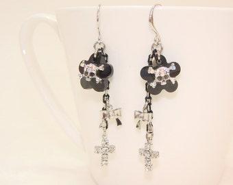 Black flower skull Swarovski Crystal Earrings, cross zircon, dangle& drop,Bridal,Jewelry,gift, under25