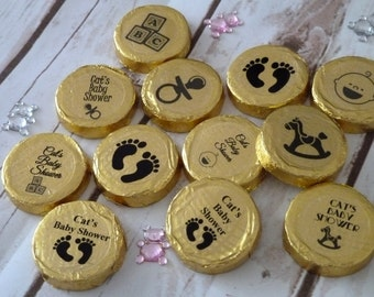 10 personalised baby shower chocolate mint crisps/after dinner chocolates.