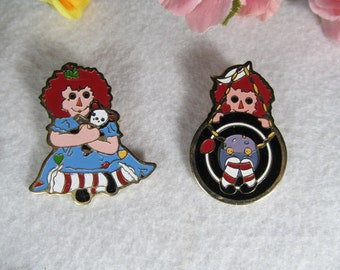 Raggedy Ann and Andy, Brooches Set of (2) Collectors Pins, Fashion Accessories, Vintage Jewelry