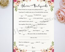 Printable 5x7 Mad Lib Wedding Advice Cards Mad Libs Advice for newlyweds Wedding Day Reception DIY Wedding INSTANT Download Pink floral