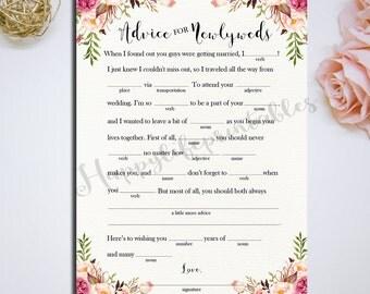 Printable 5x7 Mad Lib Wedding Advice Cards Mad Libs Advice for newlyweds Wedding Day Reception DIY Wedding Instant Download - PF-18