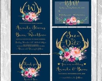 Wedding Suite, Wedding Invitations, Deer antler Invitations, Navy Blue and Gold Wedding Invitations, Navy Blue Wedding - NGF-29