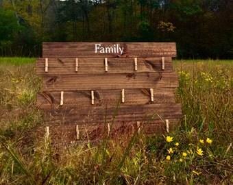 Family Photo Display - Family Photos - Handmade Wood Family Photo Wall Hanging - Wooden Wall Art - Wood Family Photo Memories Wall Decor
