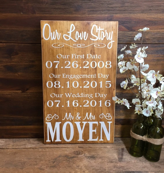 Our Love Story Wedding Idea: Our Love Story Personalized Sign Rustic Wedding By