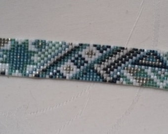 """strap loom """"le précieux"""" turquoise and white"""